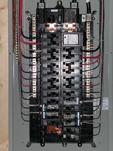 electrical service panel and branch circuit wiring
